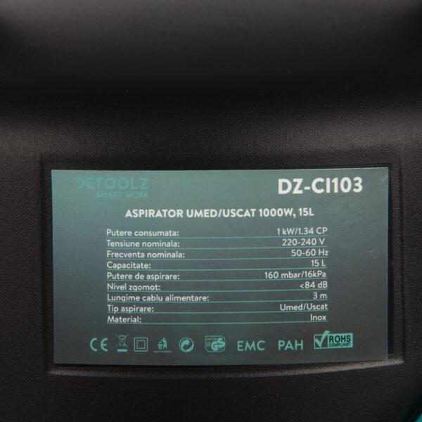 Aspirator uscat/umed DETOOLZ 1000W 15L